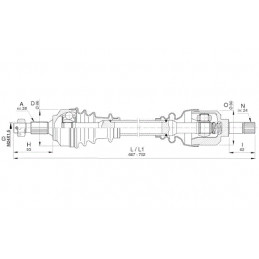 Cardan avant gauche pour Citroen C5 III 18-161530